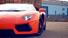 Front Pose Of Lamborghini Aventador In Red
